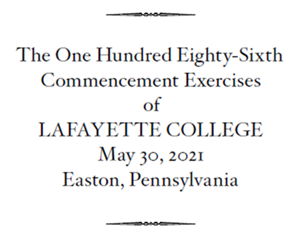 Front of 2021 Commencement program
